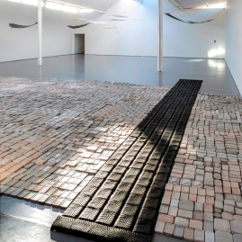 installation view (foreground: Tread, tyres). photo by Ruth Clark
