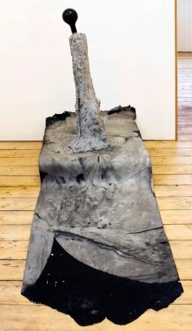 Untitled (Flash), 2014. cement, glass, cork, ink, timer, pump, ink on newsprint.