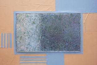 Divided and Yet Mutual, 2018 [detail]. Blackened steel, wood, resin, windscreen glass, newsprint, billboard posters, windscreen glass