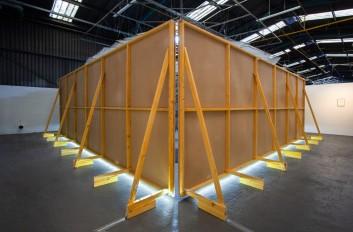 Back view, timber, hardboard, led strip