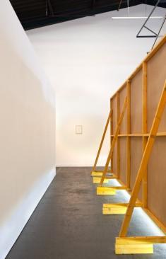 Back view, timber, hardboard, led strip, framed print with ink transfer on paper