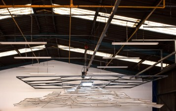 Terminal, 2019, Installation view, 74 suspended panels, bamboo and scaffolding mesh